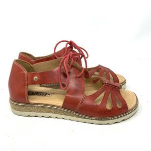 Pikolinos Alcudia tie Red Leather Sandals
